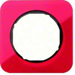 Рамка одинарная R1, акрил красный, черная вкладка, 10112344