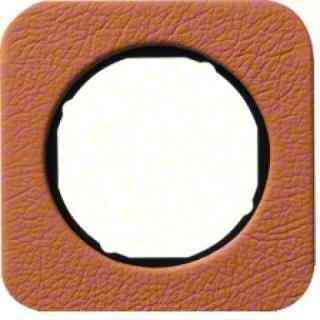 Рамка одинарная R1, кожа черная вкладка, 10112364