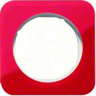 Рамка одинарная R1, акрил красный, полярная белизна, 10112349