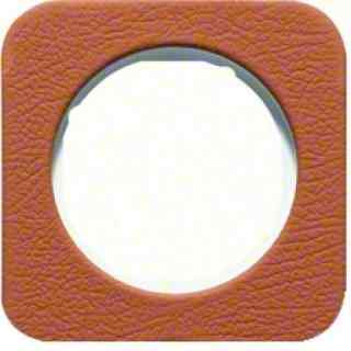 Рамка одинарная R1, кожа белая вкладка, 10112369