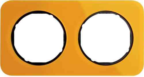 Рамка двойная R1, акрил оранжевый черная вкладка, 10122334