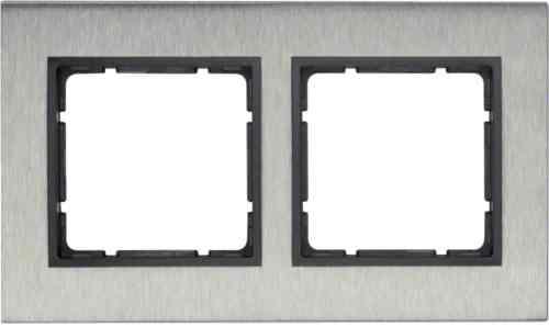 Рамка двойная вертикальная B.7 металл нержавеющая сталь, антрацит 10123606
