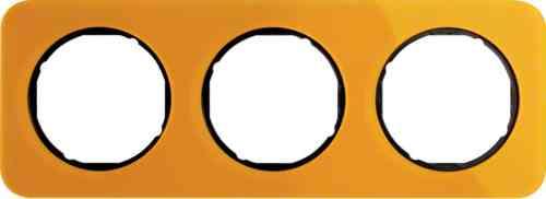 Рамка тройная R1, акрил оранжевый черная вкладка, 10132334