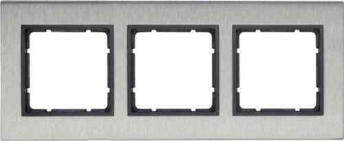 Рамка тройная вертикальная B.7 металл нержавеющая сталь, антрацит 10133606