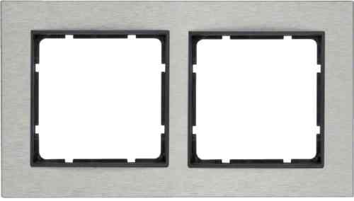 Рамка двойная горизонтальная B.7 металл нержавеющая сталь, антрацит 10223606