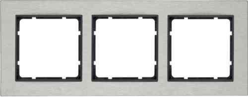 Рамка тройная горизонтальная B.7 металл нержавеющая сталь, антрацит 10233606