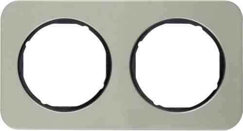 Рамка 2 местная нержавеющая сталь, Berker R1, 10122104