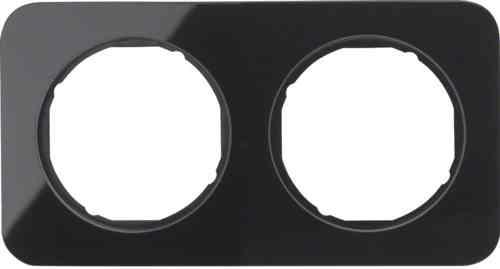 Рамка 2 местная стекляная, Berker R1, черная, 10122116