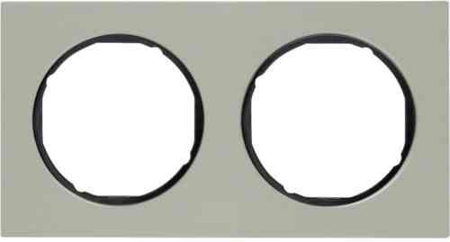 Рамка 2 местная нержавеющая сталь, Berker R3, нержавеющая сталь/черный, 10122204