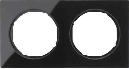 Рамка 2 местная стекляная, Berker R3, черная, 10122216