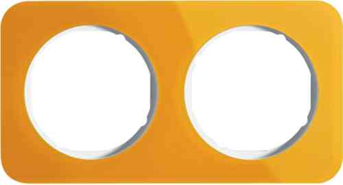 Рамка двойная R1, акрил оранжевый белая вкладка, 10122339