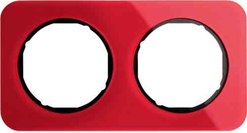 Рамка двойная R1, акрил красный, черная вкладка, 10122344