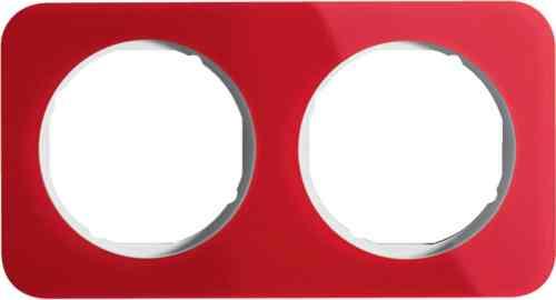 Рамка двойная R1, акрил красный, полярная белизна, 10122349