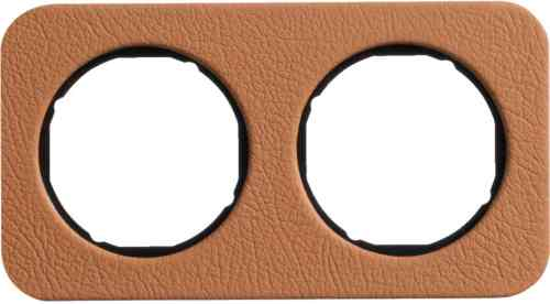 Рамка двойная R1, кожа черная вкладка, 10122364