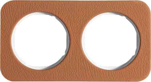 Рамка двойная R1, кожа белая вкладка, 10122369