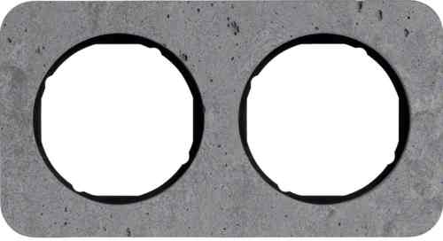 Рамка двойная R1, бетон вкладка черная, 10122374