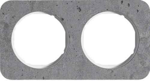 Рамка двойная R1, бетон белая вкладка, 10122379