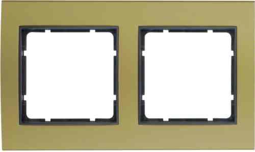 Рамкa двойная B.3, алюминевая, золото/антрацит 10123016