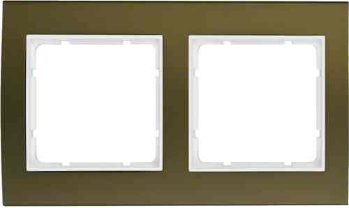 Рамкa двойная B.3, алюминевая, коричневый/полярная белизна 10123021