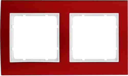 Рамкa двойная B.3, алюминевая, красный/полярная белизна 10123022