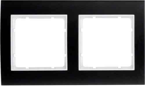 Рамкa двойная B.3, алюминевая, черный/полярная белизна 10123025