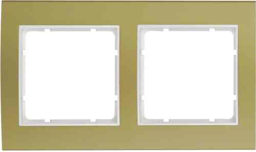Рамкa двойная B.3, алюминевая, золото/полярная белизна 10123046