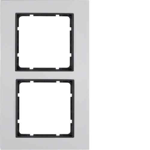 Рамка двойная B.7 металл алюминий, вкладка антрацит 10126904