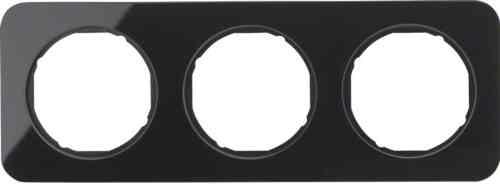 Рамка 3 местная стекляная, Berker R1, черная, 10132116