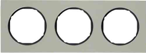 Рамка 3 местная нержавеющая сталь, Berker R3, нержавеющая сталь/черный, 10132204