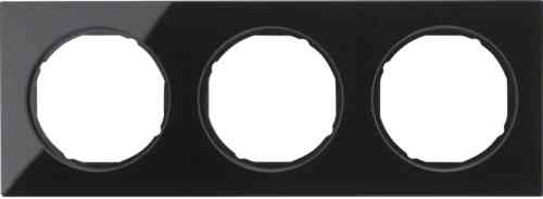 Рамка 3 местная стекляная, Berker R3, черная, 10132216