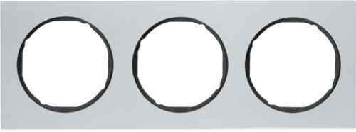 Рамка 3 местная алюминий, Berker R3, алюминий/черный, 10132284