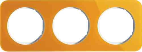 Рамка тройная R1, акрил оранжевый белая вкладка, 10132339