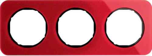 Рамка тройная R1, акрил красный, черная вкладка, 10132344