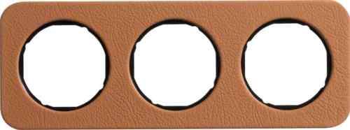Рамка тройная R1, кожа черная вкладка, 10132364