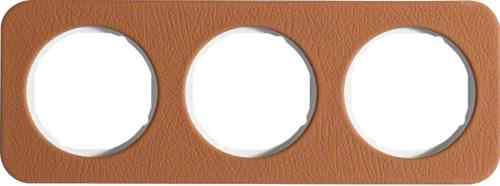 Рамка тройная R1, кожа белая вкладка, 10132369