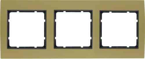 Рамкa тройная B.3, алюминевая, золото/антрацит 10133016