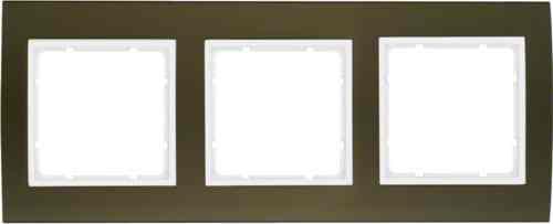 Рамкa тройная B.3, алюминевая, коричневый/полярная белизна 10133021