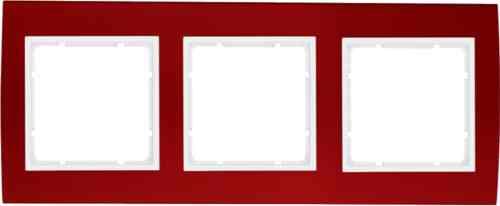 Рамкa тройная B.3, алюминевая, красный/полярная белизна 10133022
