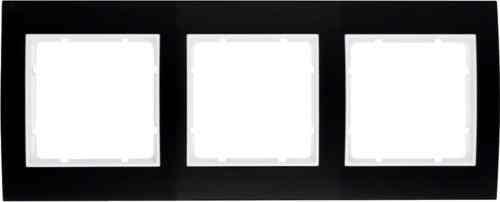Рамкa тройная B.3, алюминевая, черный/полярная белизна 10133025