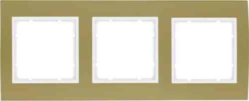 Рамкa тройная B.3, алюминевая, золото/полярная белизна 10133046