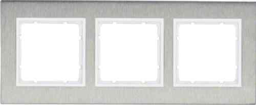 Рамка тройная вертикальная B.7 металл нержавеющая сталь, полярная белизна 10133609