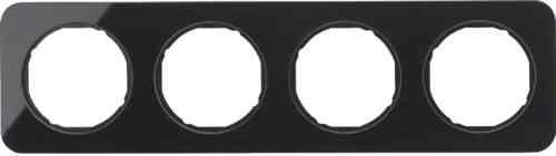Рамка 4 местная стекляная, Berker R1, черная, 10142116