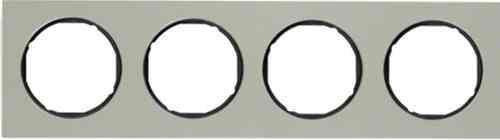 Рамка 4 местная нержавеющая сталь, Berker R3, нержавеющая сталь/черный, 10142204