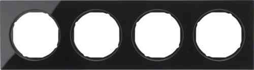 Рамка 4 местная стекляная, Berker R3, черная, 10142216