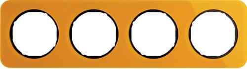 Рамка четверная R1, акрил оранжевый черная вкладка, 10142334