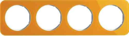 Рамка четверная R1, акрил оранжевый белая вкладка, 10142339