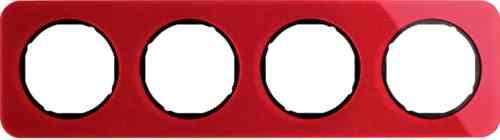 Рамка четверная R1, акрил красный, черная вкладка, 10142344