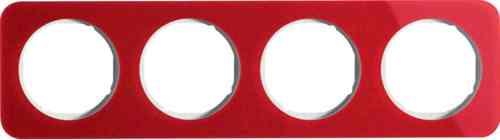 Рамка четверная R1, акрил красный, полярная белизна, 10142349