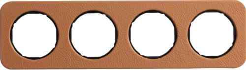 Рамка четверная R1, кожа черная вкладка, 10142364