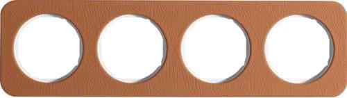 Рамка четверная R1, кожа белая вкладка, 10142369